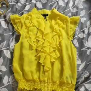 Yellow polyester blouse